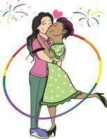 duas garotas apaixonadas. gráfico de vetor lgbt orgulho celebração lésbicas.