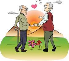 um casal gay idoso apaixonado. gráfico de vetor de celebração do orgulho LGBT.