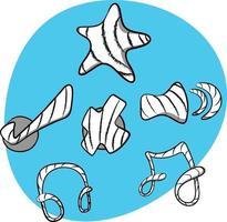 star tick cruza ícones de música de áudio em estilo doodle com cores neon. vetor