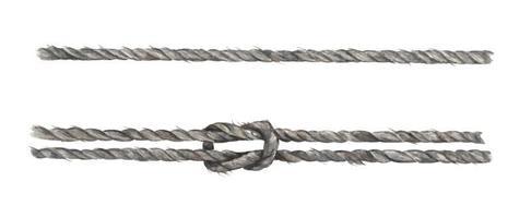 conjunto de corda cinza com nó. ilustração em aquarela. vetor