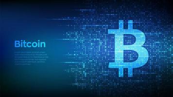 ícone de bitcoin feito com código binário. tecnologia blockchain. vetor
