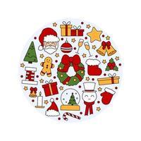 costura padrão com símbolos de Natal e feliz ano novo. em estilo vintage vetor