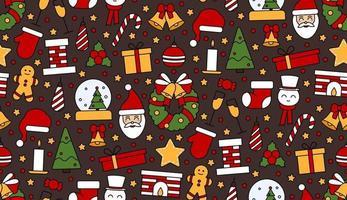 padrão de repetição sem costura com símbolos de Natal e feliz ano novo vetor