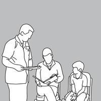 médico pedindo ao pai para colocar assinatura vetor