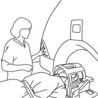 especialista feminina ligando scanner de ressonância magnética vetor