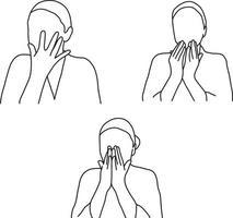 conjunto de ilustração vetorial de massagem facial de mulher vetor