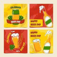 coleção de cartões de feliz dia da cerveja vetor