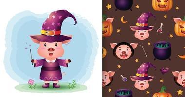 um porco fofo com fantasia padrão sem emenda de halloween vetor