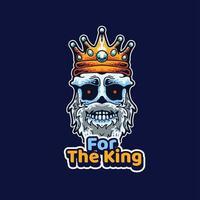 crânio do rei com coroa na cabeça vetor