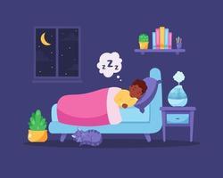 garotinho negro dormindo no quarto com umidificador de ar vetor