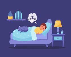 menino dormindo no quarto com o gato. sono saudável vetor