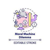 ícone de conceito de dilema de máquina moral. vetor