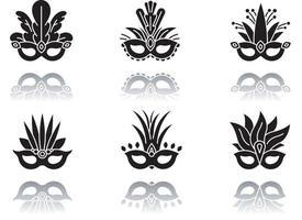 máscaras de máscara projetada ícones de glifo preto sombra definida vetor