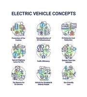 conjunto de ícones de conceito redondo de veículo elétrico. vetor
