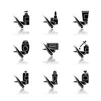conjunto de ícones de glifo preto de sombra projetada de aloe vera vetor