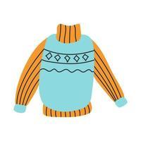 suéter azul-laranja quente. ilustração vetorial em um estilo simples vetor
