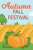 banner festival outono outono. paisagem rural com abóbora, colina vetor