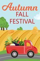 outono outono festival.truck com safra de legumes dirigindo na estrada, fazenda vetor