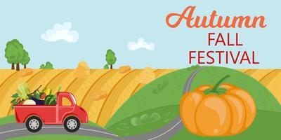 paisagem rural com caminhão de vegetais e título de festival de outono vetor