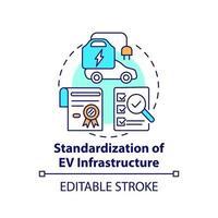 ícone do conceito de padronização de infraestrutura de veículos elétricos. vetor