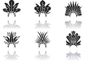 conjunto de ícones de glifo preto de chapéu de carnaval brasileiro sombra vetor