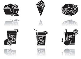 conjunto de ícones de glifo preto de sombra projetada culinária brasileira vetor