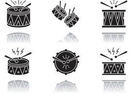 conjunto de ícones de glifo preto de sombra projetada de música brasileira vetor