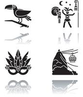 conjunto de ícones de glifo preto de sombra projetada do carnaval brasileiro vetor