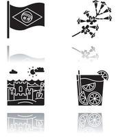 conjunto de ícones de glifo preto de sombra projetada brasil vetor