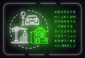 ícone do conceito de luz de néon de planejamento urbano vetor