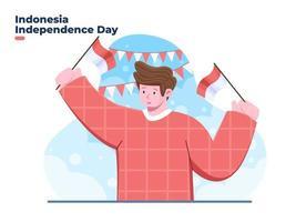 17 de agosto feliz dia da independência da Indonésia com o personagem do jovem vetor
