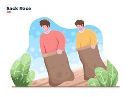 ilustração vetorial comemorar a corrida de sacos do dia da independência da Indonésia vetor