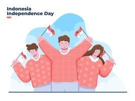 grupo de pessoas comemora o dia da independência da Indonésia, 17 de agosto vetor