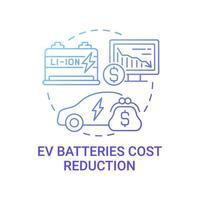 ícone do conceito de redução de custo de baterias ev. vetor