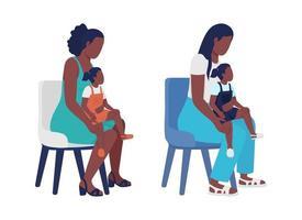 Conjunto de caracteres vetoriais de mãe com criança de cor semi-plana vetor