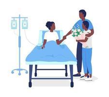 pai visitando a filha no hospital personagens vetoriais de cor semi plana vetor