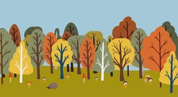 mão plana desenhada paisagem de outono. madeiras vetoriais vetor