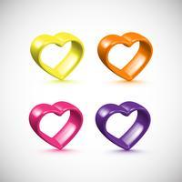 Conjunto de quadro de coração 3D colorido, vetor