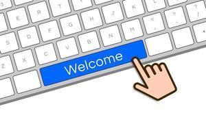 mão do cursor no botão de boas-vindas do teclado do computador vetor