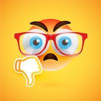 Emoticon com os polegares para baixo, ilustração vetorial