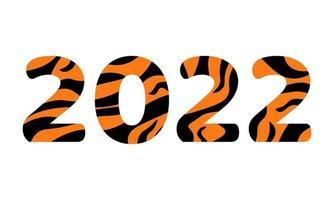 2022 ano novo isolado. números escritos na cor de pele de tigre vetor