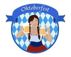 garota oktoberfest com canecas de cerveja. mulher sorridente em vestido vestido de noiva vetor
