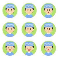 avatar muçulmano com várias expressões vetor
