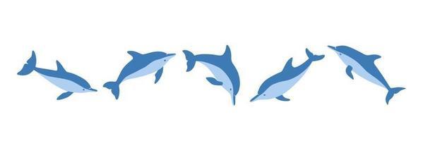 conjunto de golfinhos desenhados à mão. ilustração vetorial isolada em estilo simples vetor