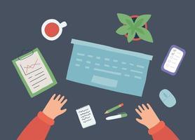 local de trabalho com laptop, smartphone, xícara de café, bloco de notas e mãos. vetor