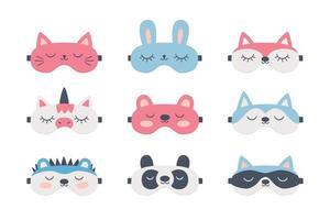 conjunto de máscaras de dormir para olhos com animais fofos. acessório noturno vetor