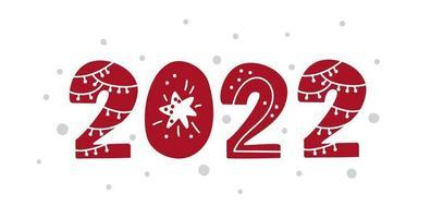 feliz ano novo 2022 número natal design vetor