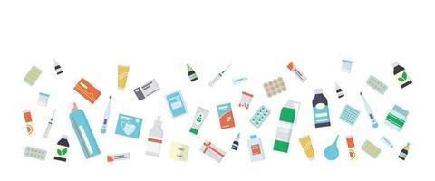 folheto para a farmácia com medicamentos, remédios, pílulas e frascos vetor