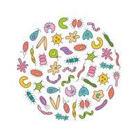 Conjunto colorido de ícones de micróbios, vírus, bactérias e patógenos. vetor