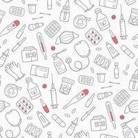 padrão de doodle sem costura com medicamentos, drogas, pílulas, garrafas vetor